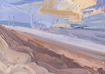 Painted En Plein Air at Formby looking at the Windfarm under Sunset by Chris Mcloughlin