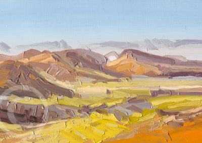 En Plein Air painting Looking at Whinlatter & Lords Seat Lake District by Chris Mcloughlin